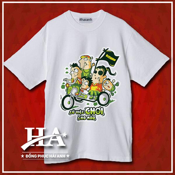 Hình ảnh thiết kế áo lớp in hình nhân vật hoạt hình