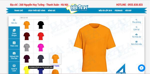 Giao diện phần mềm thiết kế áo lớp online Hải Anh