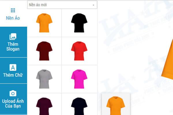 Giao diện bên trái màn hình trang web tự thiết kế áo lớp hải anh