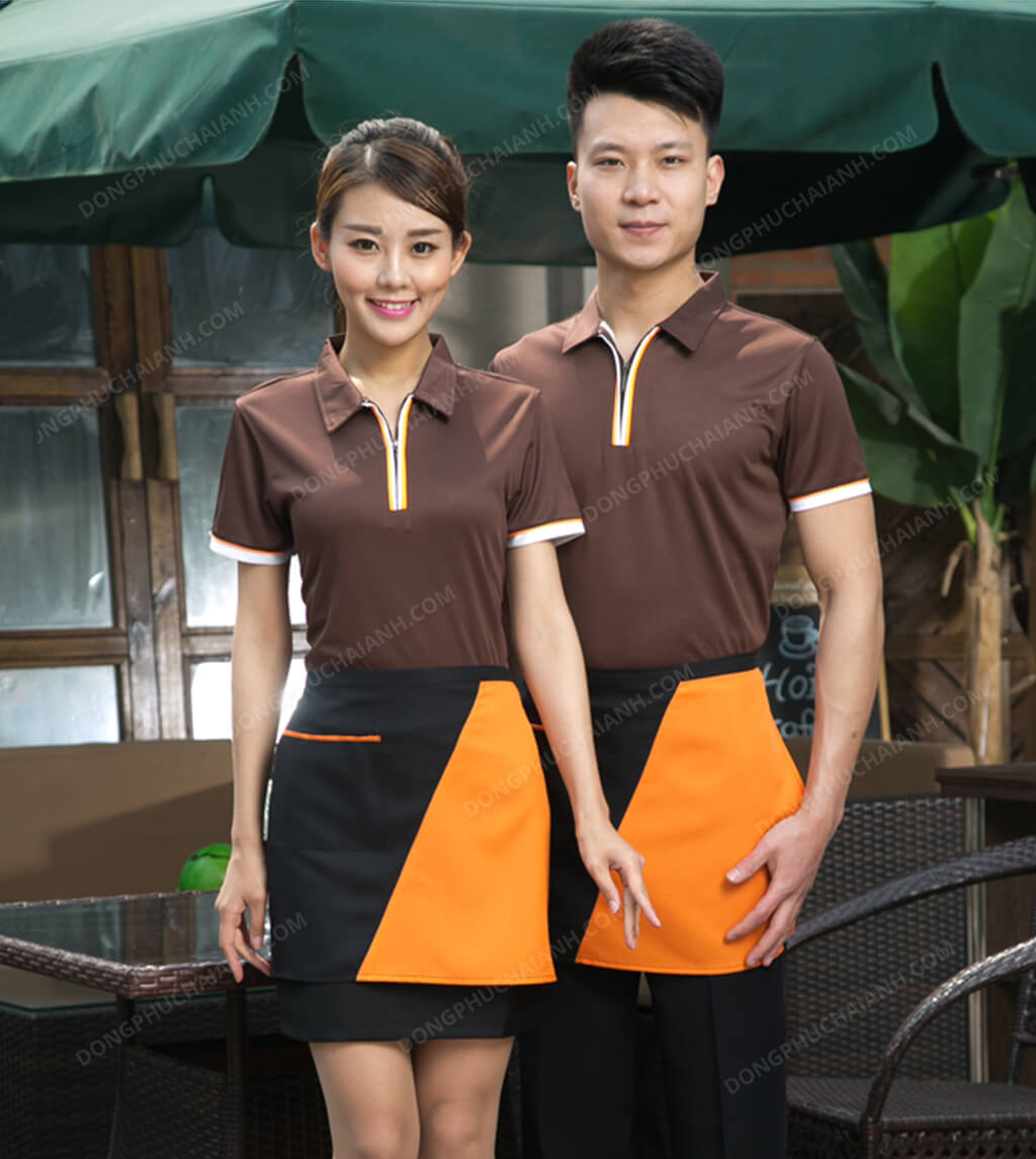 áo đồng phục nhà hàng màu vàng